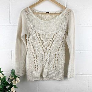 Free People Cream Knit/Lace Pullover Sweater SZ S